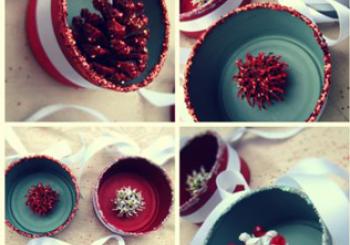Χριστουγεννιάτικα στολίδια από μικρά κουτιά